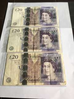 UK Old GBP20 x 3 Banknotes