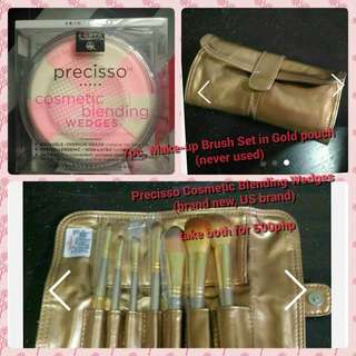 7 pc make-up brush set in gold.pouch and Precisso cosmetic blending wedges
