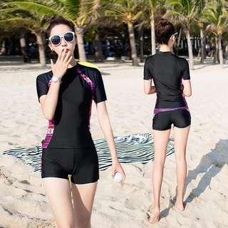 Aztec Tribal Print Short Sleeve 2 Piece Swim Wear Plus Size Available