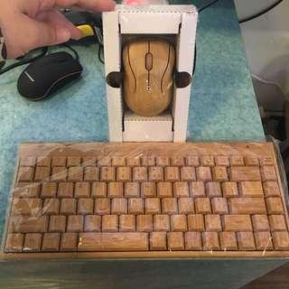 ✨碳化竹木滑鼠+鍵盤✨