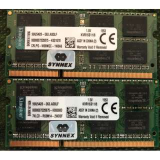 2 X Kingston Technology 8GB 1600MHz DDR3L Non-ECC CL11 SODIMM PC Memory
