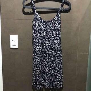 Mango Navy Floral Dress