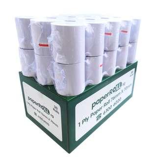 30 Rolls of 1-Ply Woodfree Paper Roll (76x70x12mm)
