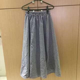 藍格子長裙