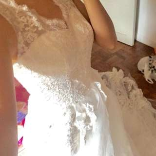 Wedding gown with long trail