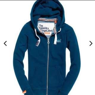 Superdry極度乾燥連帽加絨logo女裝藍色拉鍊外套長袖衛衣衞衣jacket hoodie🌈