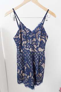 Playsuit Brocade Navy