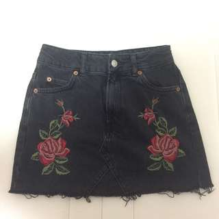 Topshop Black Denim Skirt with flower embroidery