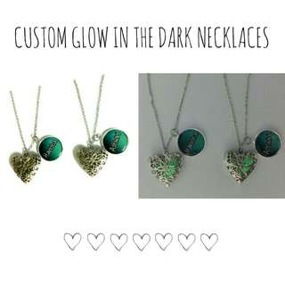 Customized Glow in the Dark Heart Necklaces