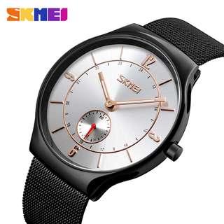 SKMEI Jam Tangan Kasual Pria Stainless Steel - 9163 - Silver