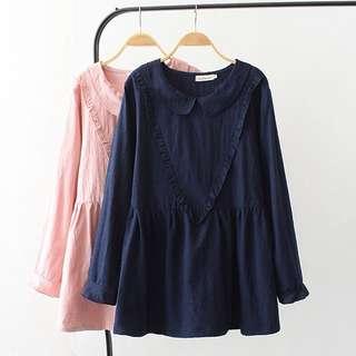 (XL~4XL) Long-sleeved shirt T-shirt Korean version of the big v-neck doll shirt
