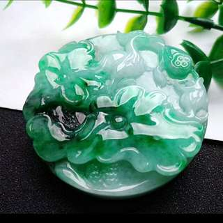 🎇Grade A Spicy Green Lotus 荷叶 和和气气 Jadeite Jade Pendant/Display🎇
