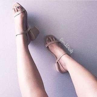 Repriced. Nude block heels sizes 6,7,8