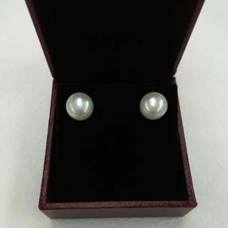 18k yellow gold fresh water pearl earrings
