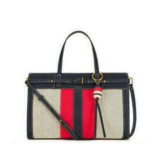 Ready authentic ori TORYBURCH canvas suede satchel