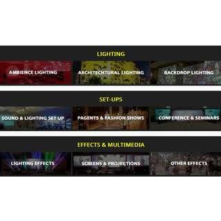 Sound, Lighting and Visual Equipment rental Company