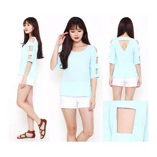BCX Cut Out Cold Shoulder Top Size XS (Tosca)