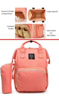 ❤On-hand: Anti-theft Diaper Bag / Mommy Nursing Bag ( Peach)