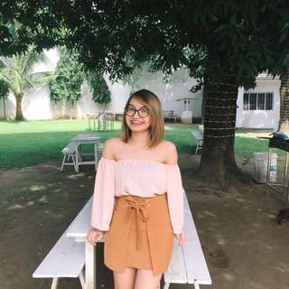 Pink off shoulder