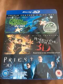 Priest 3D, Resident Evil 3D, The green hornet 3D, Blu-ray set