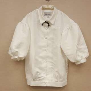 【時尚款】大燈籠袖鬆緊腰白色上衣