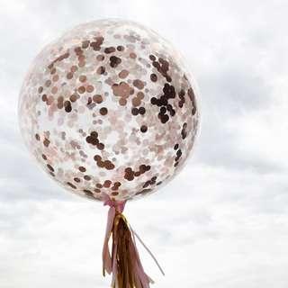 Helium Balloons - 36 Inch Confetti Rose Gold Balloon