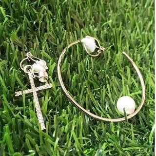 🚚 【夾式耳環】時光缺口-穿越祈願(銀色十字架+銀色韓星款缺口圓環)