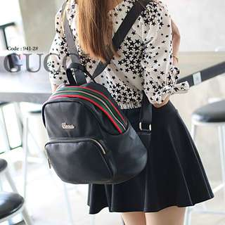 Women's Luggage & Lifestyle Bags  Authentic GUCCi Backpack  941-2#p  Size : 27x14x25cm Quality : Semprem Material : PU Leather Black Colours Weight : 0,5 kg  H 200rb