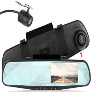 "HD 4.3"" 1080p Dual Lens Video Recorder Dash Cam Rearview Mirror Car Camera  consumer electronics"