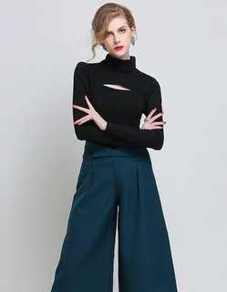 AO/HZC070605 - Autumn Hollow Out High Collar Long Sleeve T-Shirt