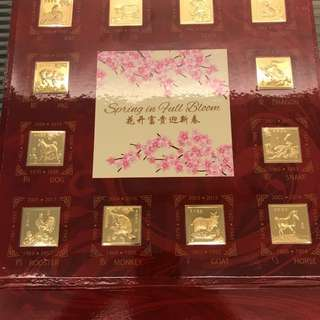 Chinese zodiac animals minted gold stamps
