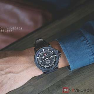 NAVI FORCE 9083#p  Original Watch Diameter : 4,8cm Ready 5 colours : - Black  - Black Red - Brown Black - Brown Coffee - Coffee Display : Analog Band Material : Leather Feature : Date,day Mineral Glass Mirror Japan Movt ne 1 year Weight