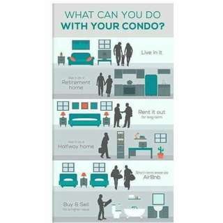 What can you do with your CONDOMINIUM? Feel free to ask ,im happy to answer any questions you have . For FREE project consultation, sample quotations, need advice for investment/business purposes, site tripping and model unit viewing;CALL/txt 09162137602
