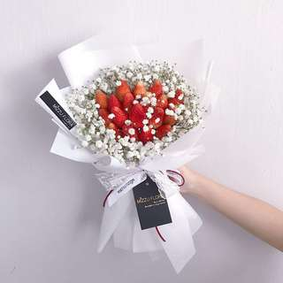 Fresh Strawberry Bouquet | Birthday Gift | Anniversary Flower | Baby's Breath Bouquet
