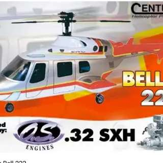 RC Helicopter CENTURY BELL 222 Scale. 32 ARF without remote controller.