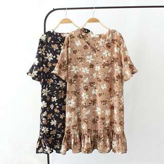 (XL~3XL) Women's summer flower V-neck lotus speaker trumpet fashion dress short-sleeved