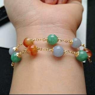 🎇14K Gold - (7.3mm) Grade A 冰糯 Lavender, Green and Red 圆圆满满 Jadeite Jade Beads Bracelet🎇