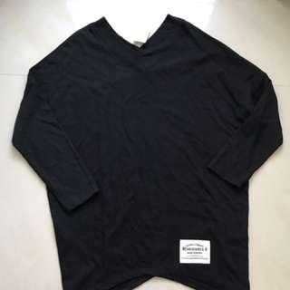 🚚 韓製黑v領布標長上衣