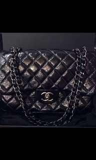 真品Chanel classic flap bag black patent
