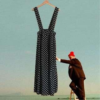 復古黑白雪紡紗吊帶圓點長裙夏季透氣清涼