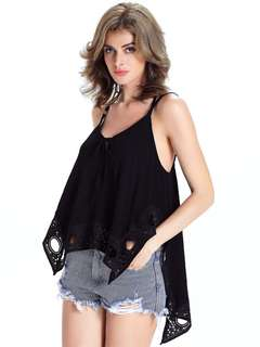 AO/DZC070881 - Street Fashion Hollow Out Backless Asymmetric Cotton Camisole