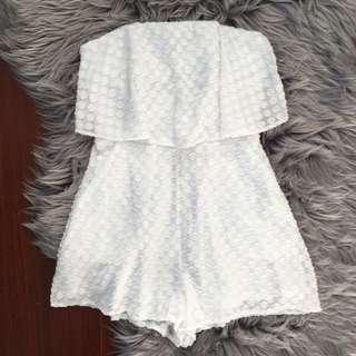 Luvalot White Strapless Playsuit Size 6