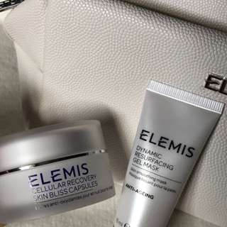 (New) Elemis Mini Cellular Recovery Skin Bliss Antioxidant Oil Capsules and Mini Dynamic Resurfacing Gel Mask with Makeup Bag