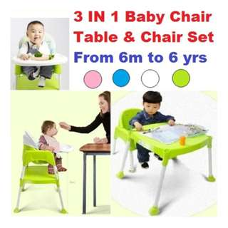 3 in 1 baby high chair feeding chair/Multi use table chair/6 moths-6yrs