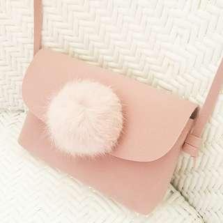 Lovely Fur Ball Sling Bag For Little Girl
