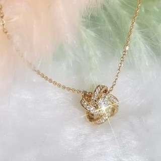 18K 玫瑰金 風車鑽石頸鍊