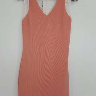 Get Laud Pink Cocktail Dress with Lace Details