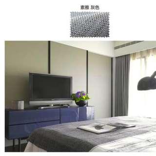 全新遮光窗簾W130H150,珍珠棉麻-灰