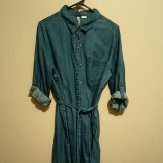 Belted denim button down dress