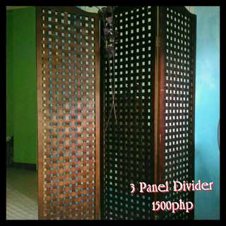 3 Panel Wood Divider in wenge color
